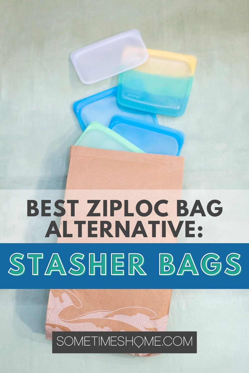 Best Ziploc bag alternative: Stasher Bags, with an image of the colorful bags coming out of the brown bag shipping packing, behind it.