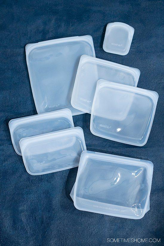 7 transparent Stasher bags of various sizes. It's the best Ziploc bag alternative.